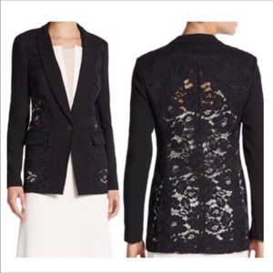 REBECCA TAYLOR Corded Lace Panel Jacket